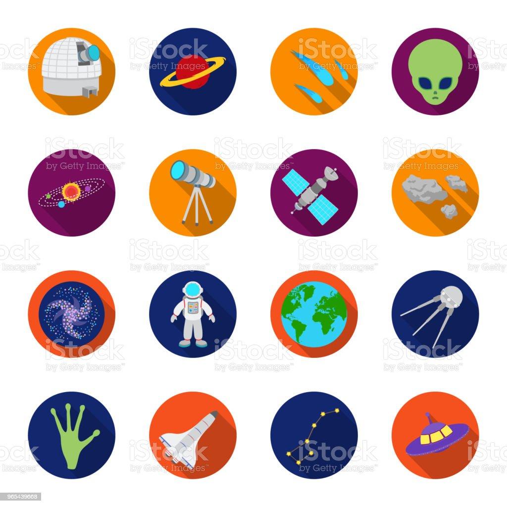 Espace technologie plats icônes dans la collection de jeu pour la conception. Vaisseau spatial et équipement symbole web stock illustration vectorielle. - clipart vectoriel de Astronaute libre de droits