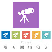 istock Space telescope flat white icons in square backgrounds 1068349470