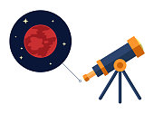 Space telescope looking at mars and stars - vector  - astronomy