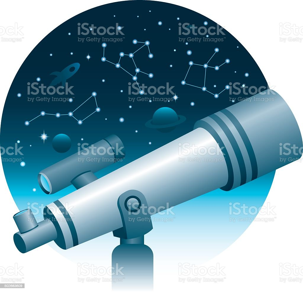 Space Telescope with Space View vector art illustration