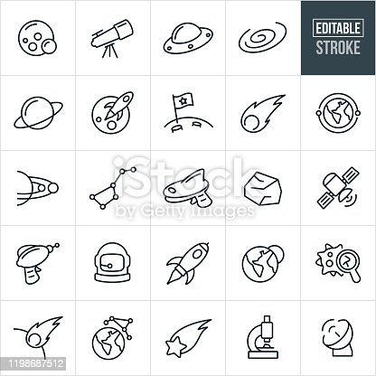 Space Thin Line Icons - Editable Stroke