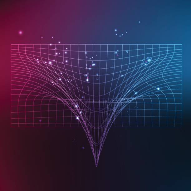 Space time grid on vibrant color background vector art illustration