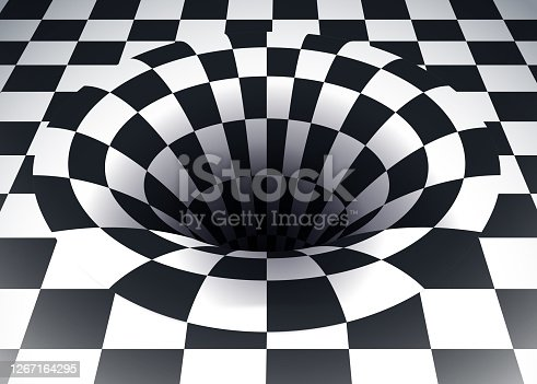 Warp in space time continuum abstract black and white checkered 3d space.