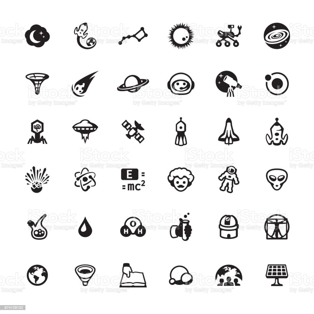 Space Travel and Exploration icon set vector art illustration