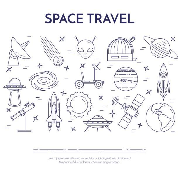 space travel linie banner. satz von elementen des planeten, raumschiffe, ufo, satellit, fernglas und anderen kosmos-piktogramme. - sternwarte stock-grafiken, -clipart, -cartoons und -symbole