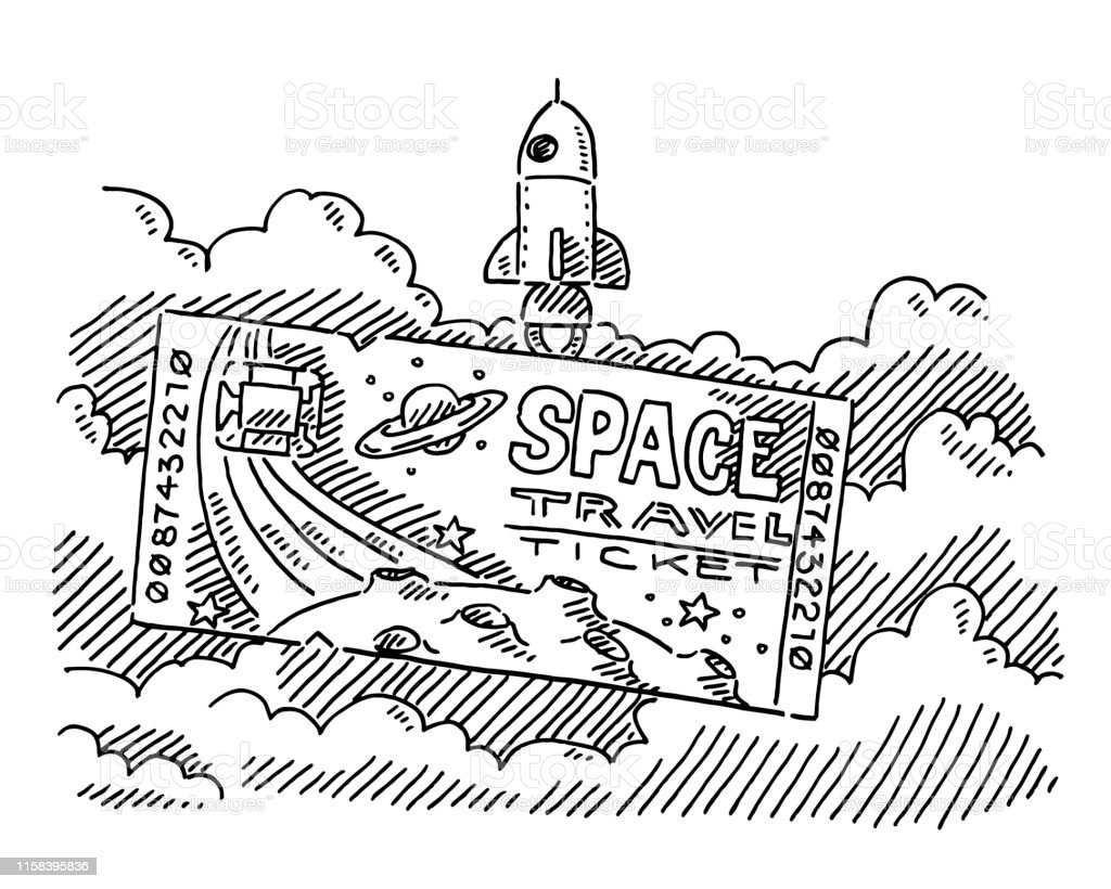 Hand-drawn vector drawing of a Space Travel Ticket and a Rocket...