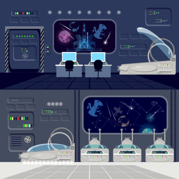 space travel to other planets banner. cryogenic cameras, deep space interior of interstellar ship. technologies of future, colonization of universe - hibernation stock illustrations, clip art, cartoons, & icons