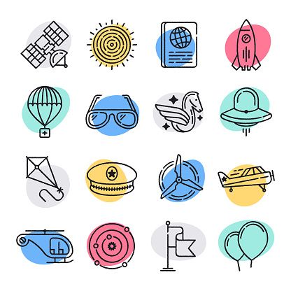 Space Travel & Tourism Doodle Style Vector Icon Set