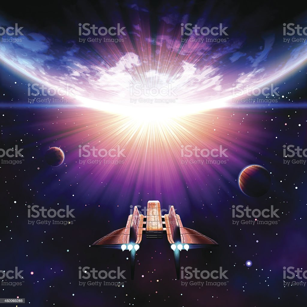 Space Travel vector art illustration