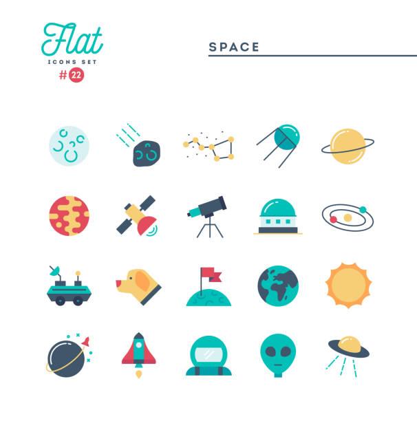 illustrazioni stock, clip art, cartoni animati e icone di tendenza di spazio, universo, corpi celesti, lancio di razzi, astronomia e altro ancora, set di icone piatte - flare