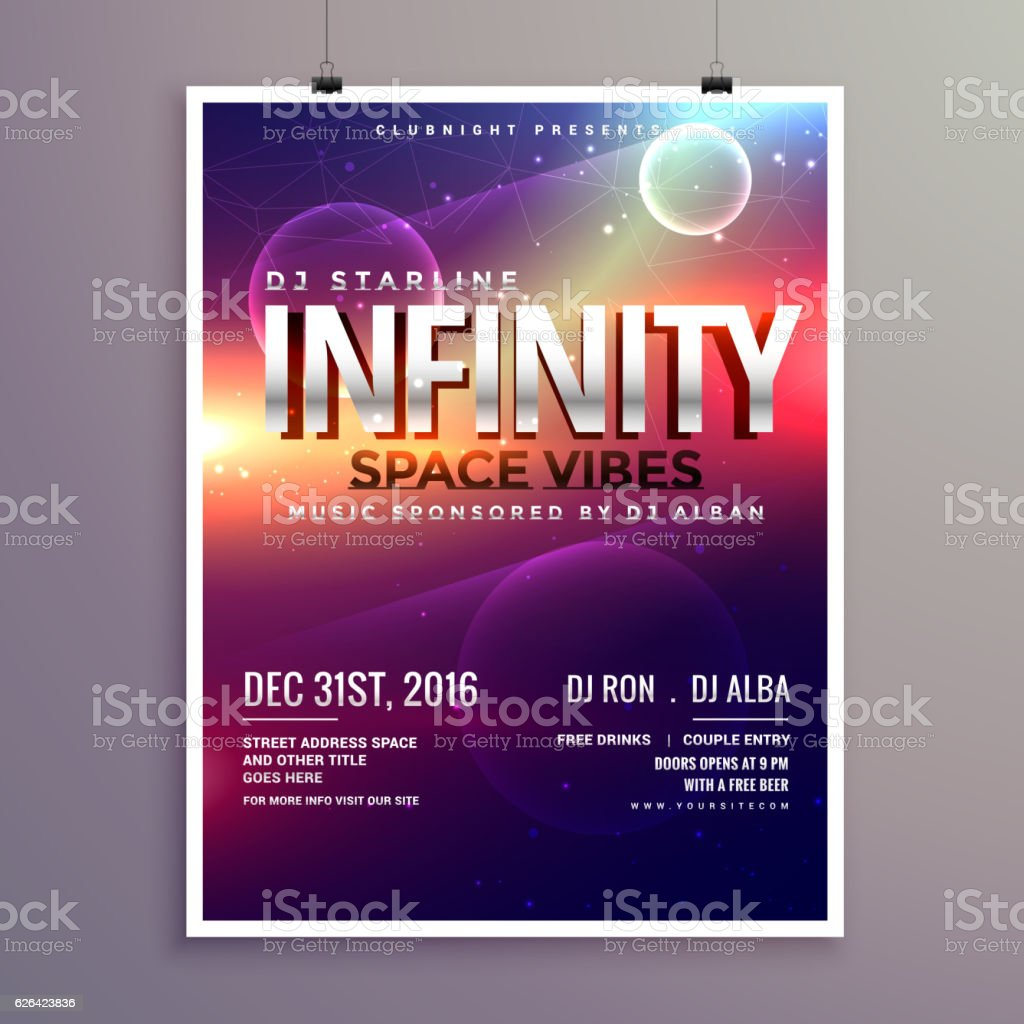 space universe style music flyer template with event date お祝いの