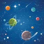 Vector illustration of a cartoon space scene full of planets, stars, astroids, nebulas and comets. Concept and background topics related to space, space exploration and observation and astronomy.