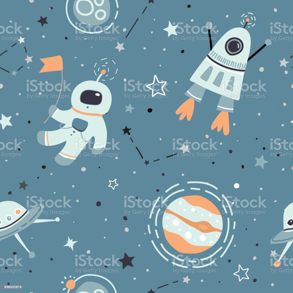 Space vector seamless cute pattern with astronaut, space ship, rocket, stars. vector art illustration