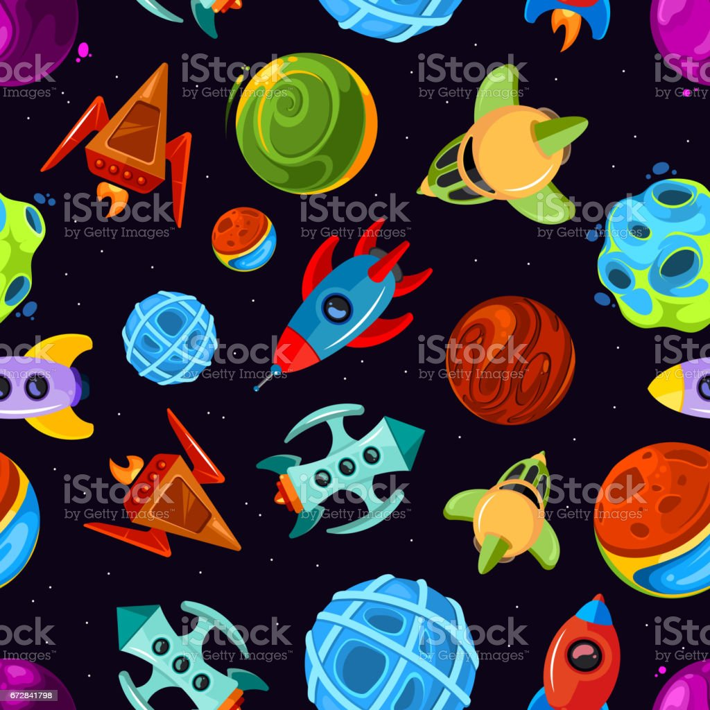 Space Vector Seamless Pattern With Spaceships Stars Planet And Rockets Childrens Fantastic Background