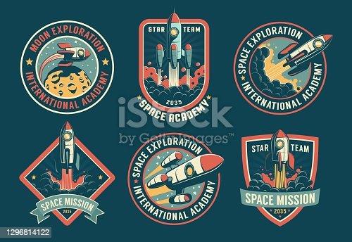 istock Space vintage badges, emblems and labels set 1296814122
