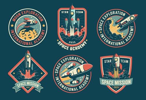 Space vintage badges, emblems and labels set