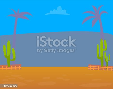 istock Space with Plants and Mountain, Restaurant Vector 1307723130
