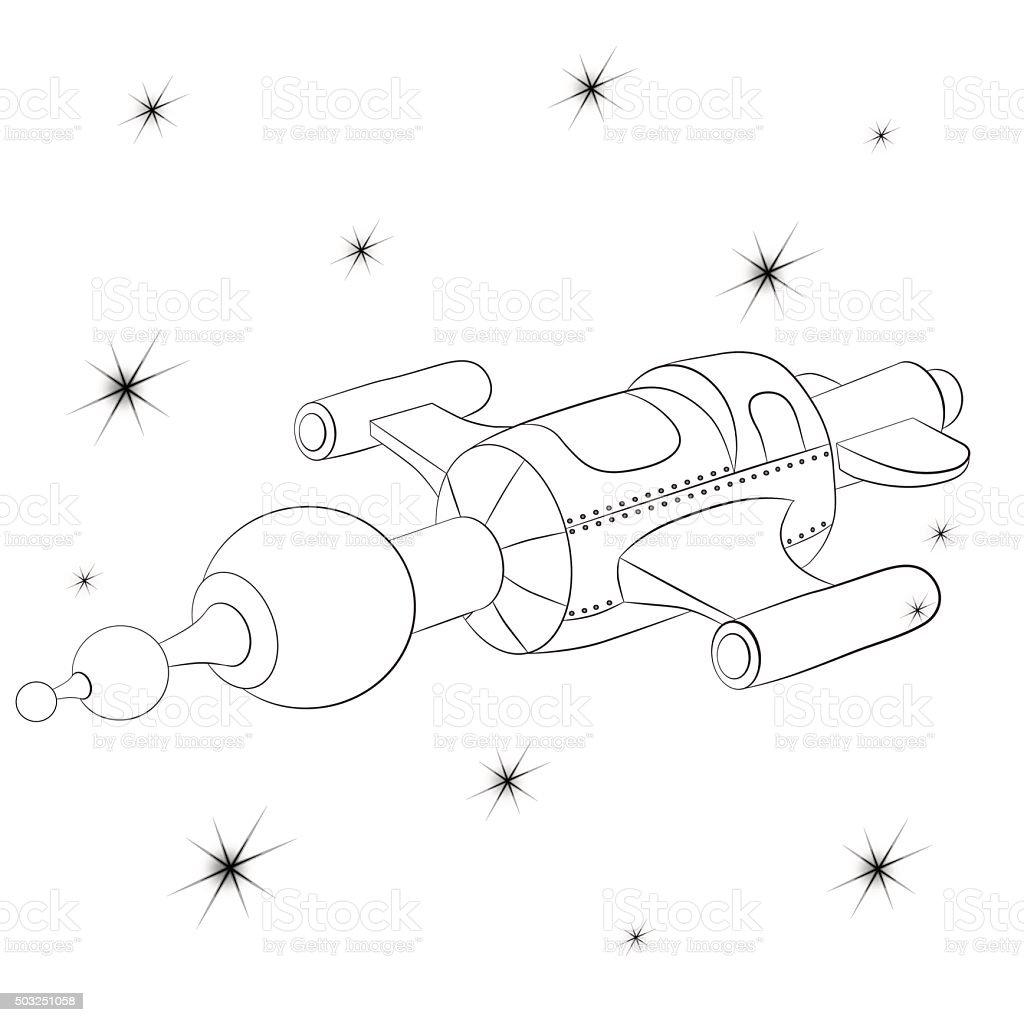 Raumschiffen Gegen Den Sternen Cosmos Malbuch Vektor Illustration ...