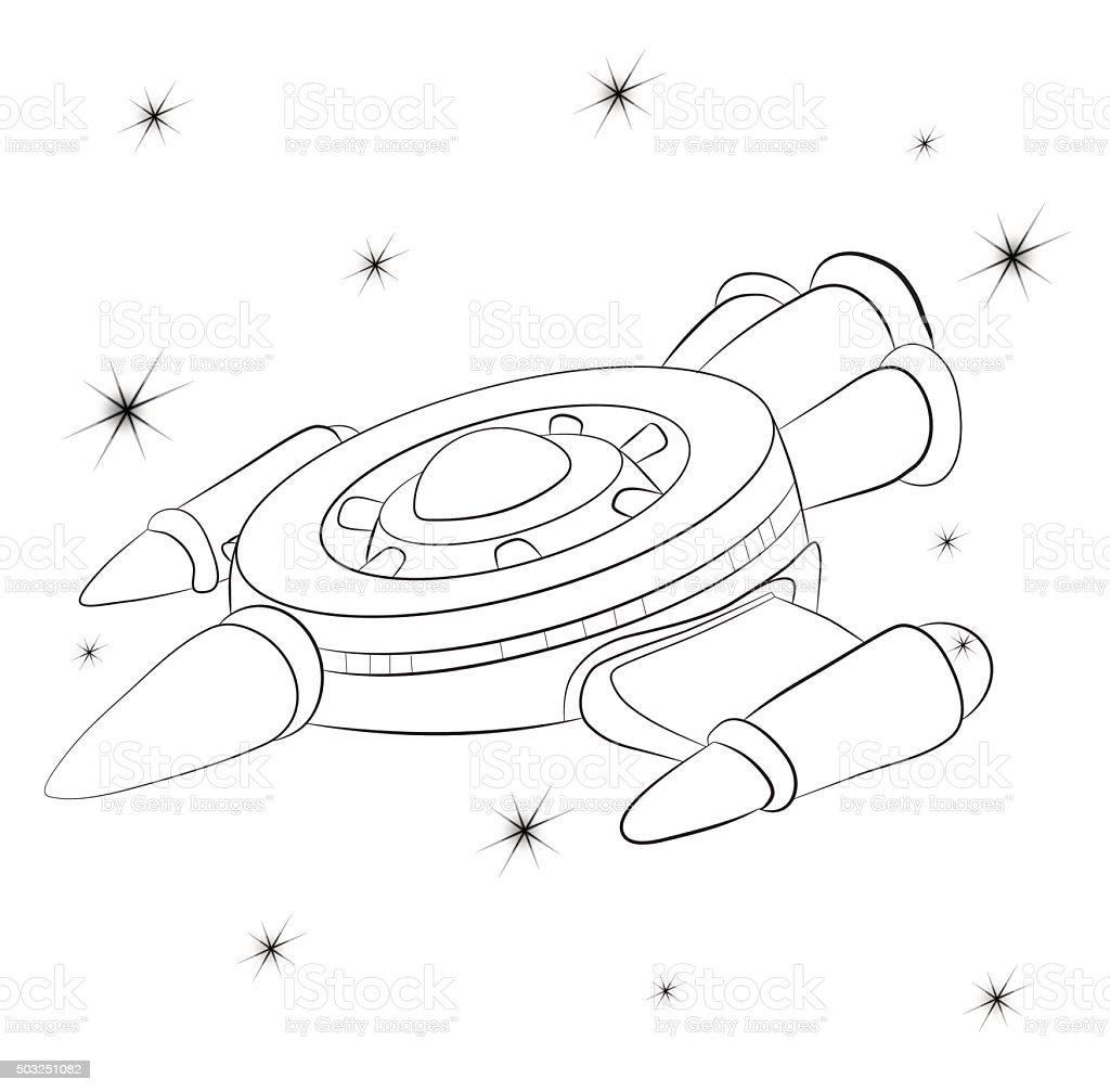 Ilustración de Spacecraft Contra El Cielo Estrellado Cosmos Libro ...