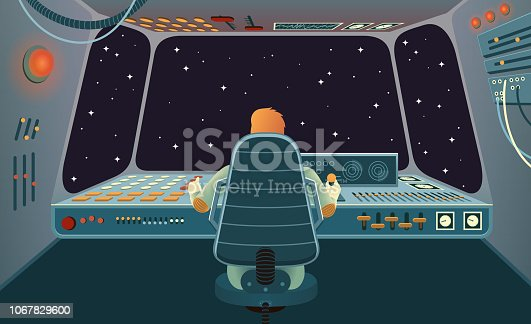 The astronaut of the spacecraft on back view, sitting in the chair and controlling the space vehicle with various buttons and levers on the control panel