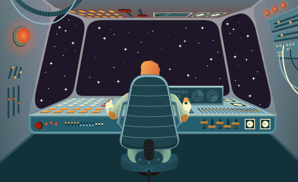 stockillustraties, clipart, cartoons en iconen met ruimtevaartuig cabine met astronauten achter het control panel - ruimte exploratie