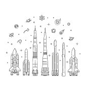 Astronautics and space technology isolated set