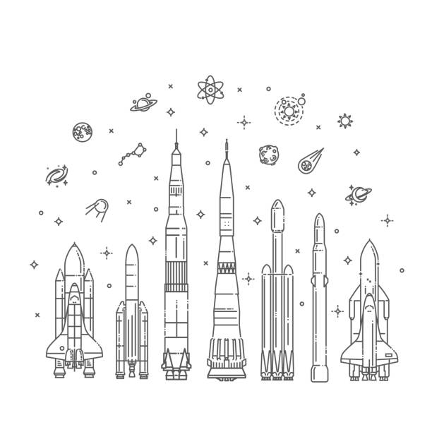 spacecraft collection in flat design - space exploration stock illustrations, clip art, cartoons, & icons