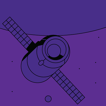 Illustration of modern spacecraft and modern space exploration of the solar system. Vector file.