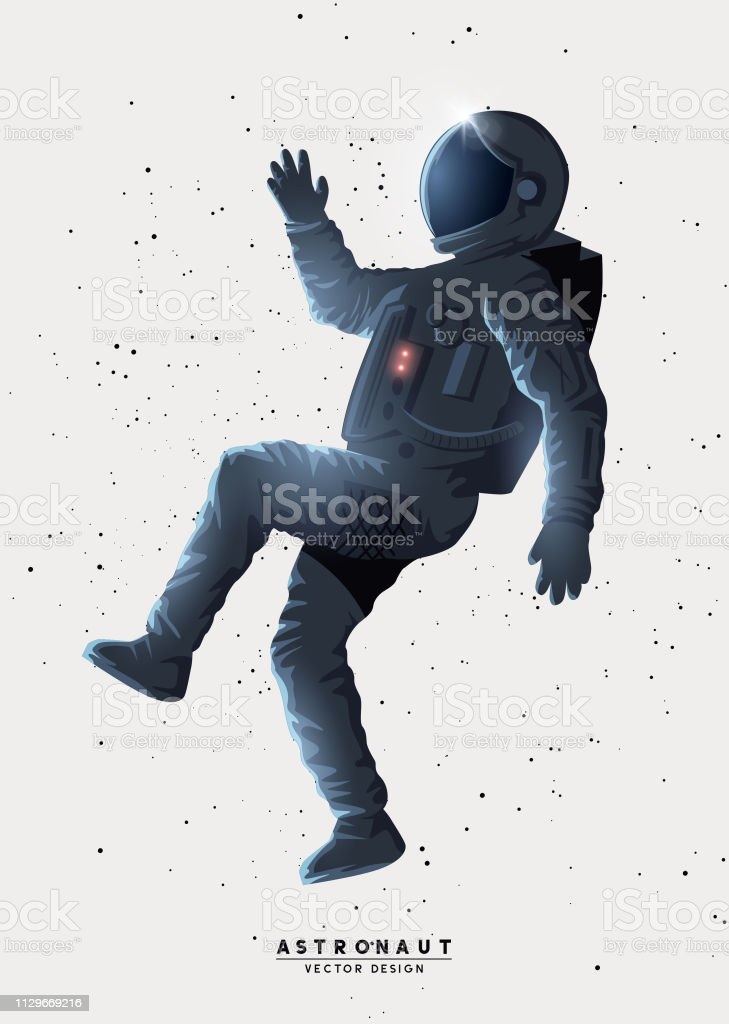 Spaceman Astronaut Floating In Space Stock Illustration Download