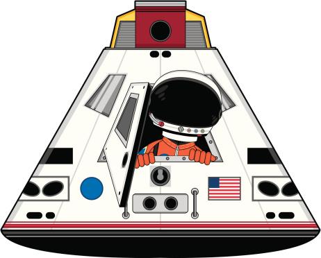 Spaceman Character in Space Capsule