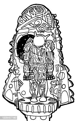 Ilustración de Página Para Colorear De Astronauta y más banco de ...