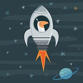 Vector illustration of a spaceman in his spaceship travelling through the universe