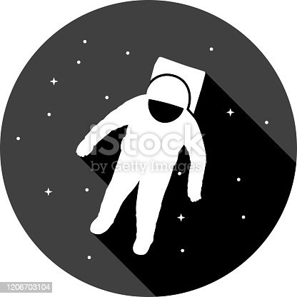 Spaceman in Space in Silhouette