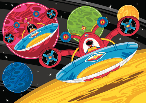 Spaceman & Planets Scene