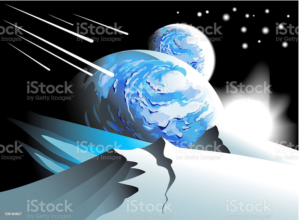 Spacescape: rising star royalty-free stock vector art