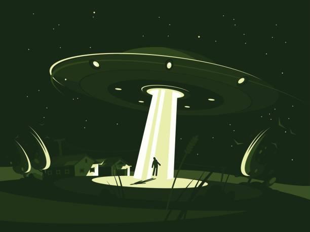 stockillustraties, clipart, cartoons en iconen met ruimteschip ontvoert man - ufo