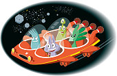 istock Spaceship and aliens 959513240