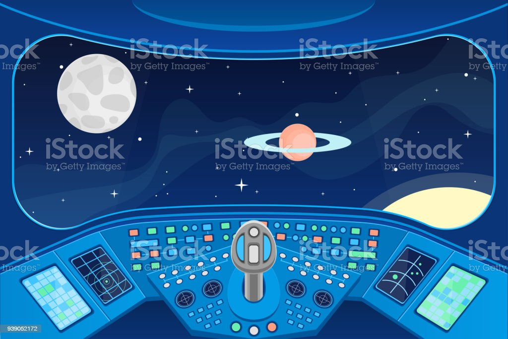 Spaceship Cabin Interior and View Window to Space Background Card. Vector vector art illustration