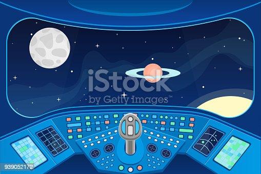 Interior De Ventana De Nave Espacial: Ilustración De Nave Espacial Cabina Interior Y Ventana De