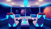 istock Spaceship cockpit interior space and planets view 1208978034