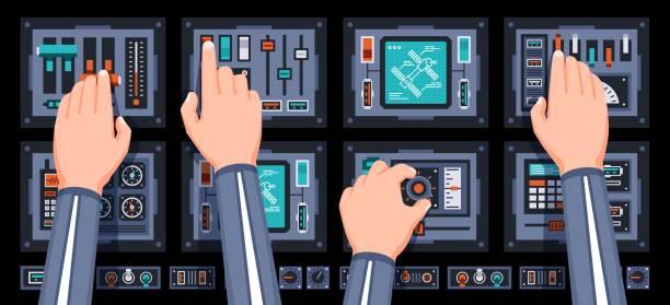 Bекторная иллюстрация Spaceship control panel with hands of pilots