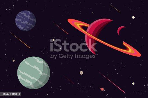 Spaceship fly to space banner concept icon.vector and illustration