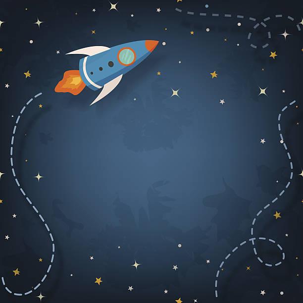 stockillustraties, clipart, cartoons en iconen met spaceship illustration with space for your text - ruimte exploratie