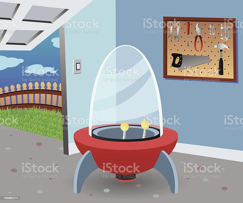 Spaceship in a Garage vector art illustration