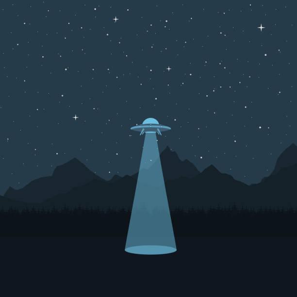 stockillustraties, clipart, cartoons en iconen met ufo. een ruimteschip in de achtergrond van een berglandschap - ufo