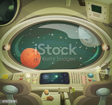 Vector illustration of a cartoon graphic scene of cosmic spacecraft interior traveling through scifi cosmos. File is EPS10 and uses multiply transparency at 100% on planets and shadows,
