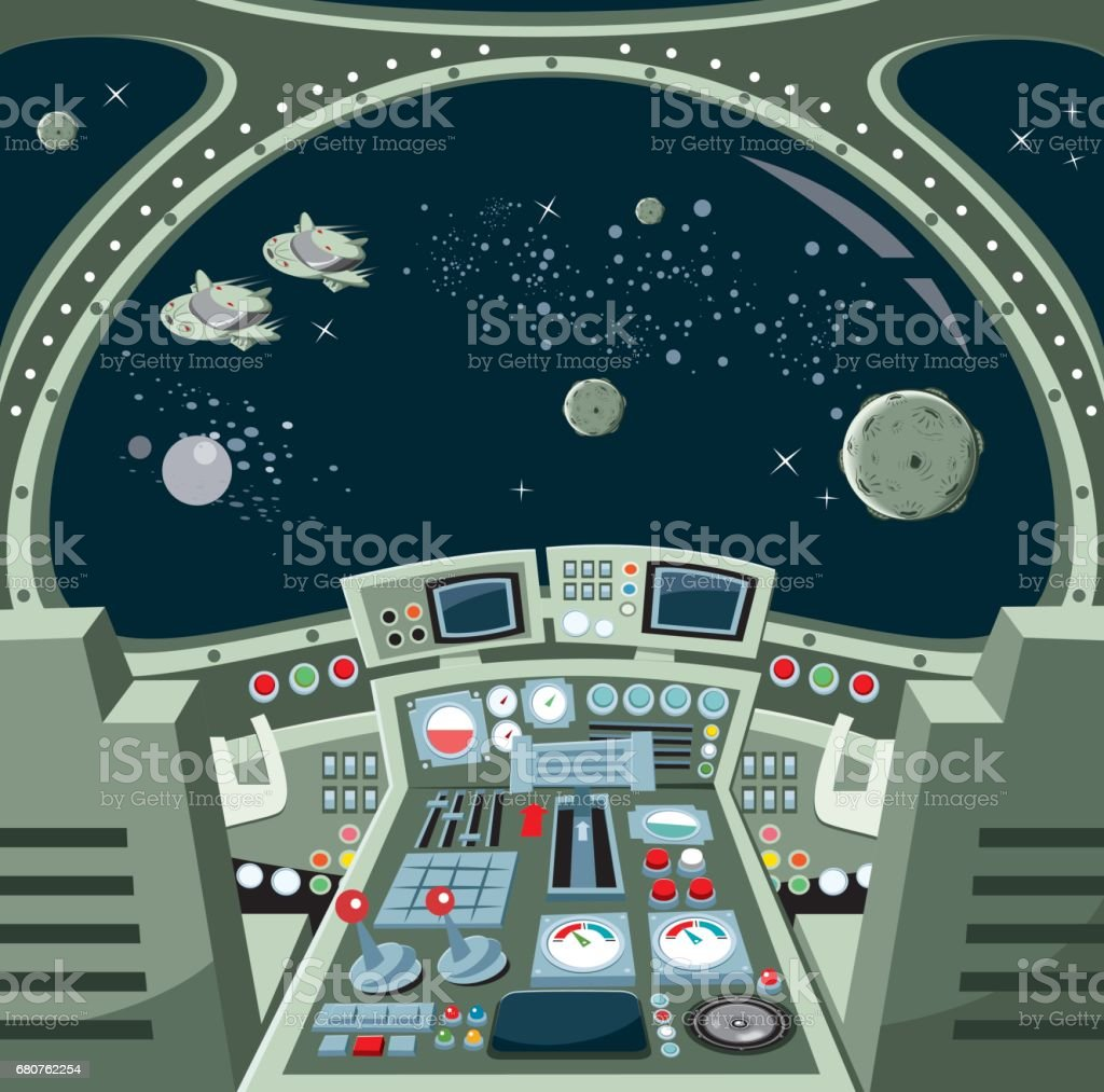 Spaceship interior vector art illustration