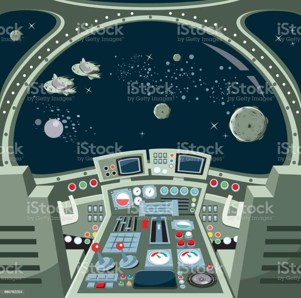 Nave espacial interior - ilustración de arte vectorial