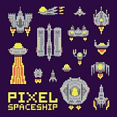 Spaceship isolated vector set pixel art style