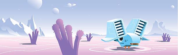 космический корабль на выражением пустынная планета - space background stock illustrations